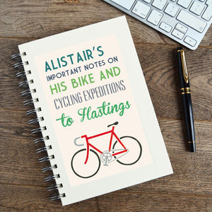 Personalised Communiqué Bike Notebook - token gifts for dads