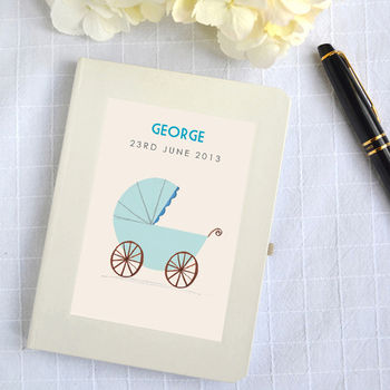 Personalised New Baby Boy Notebook