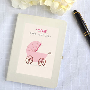 Personalised New Baby Girl Notebook - keepsakes