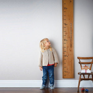 Personalised 'Kids Rule' Wooden Ruler Height Chart - children's room