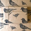 Lino Printed Wren And Jay Bird Wrapping Paper