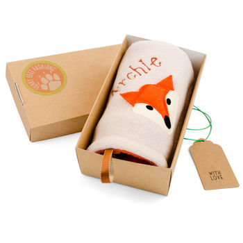 Personalised Fox Baby Comforter Gift Boxed