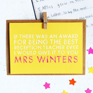 Personalised Best Teacher Card - leaving cards