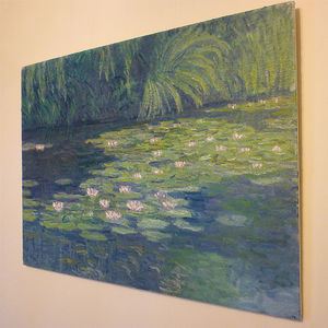 'Pink Water Lilies' Oil Painting - affordable art