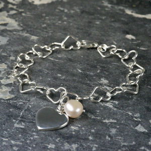 Sterling Silver Heart Linked Bracelet With Pearl