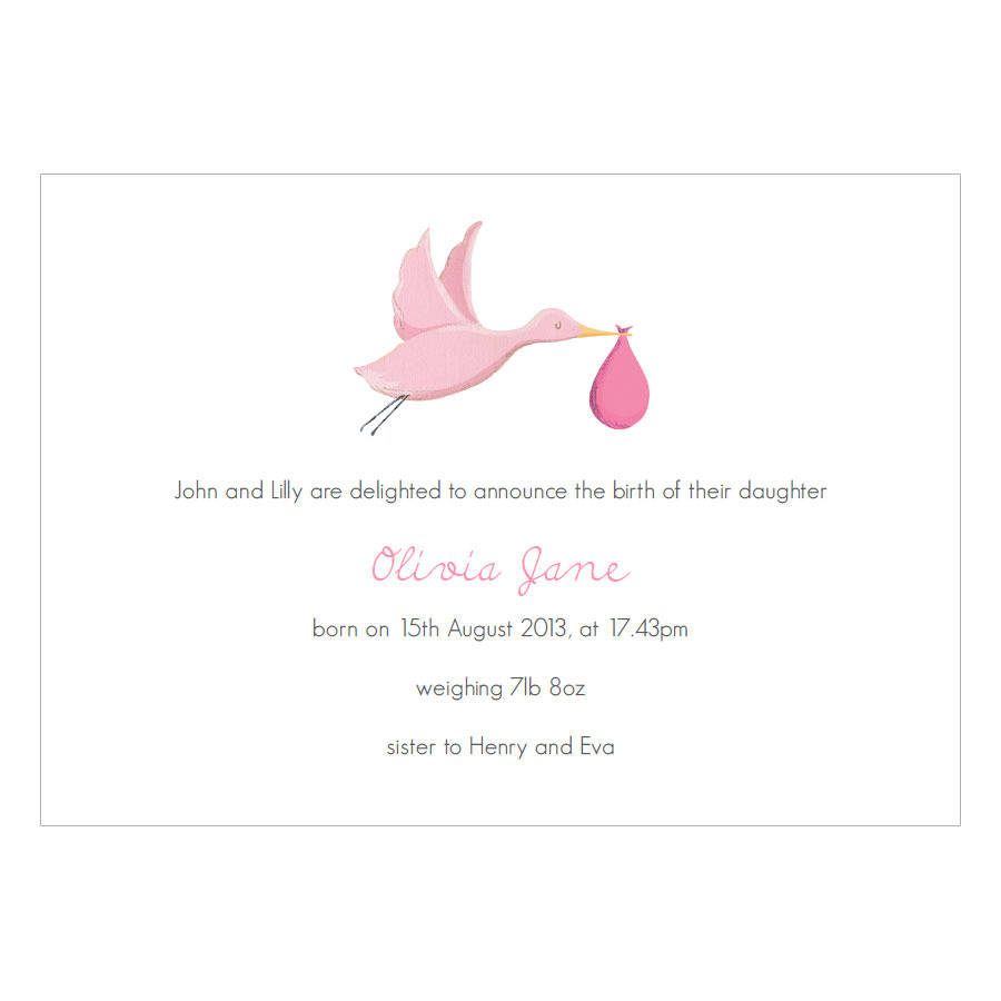 personalised new baby girl announcement cards by made by ellis – How to Announce Baby Girl