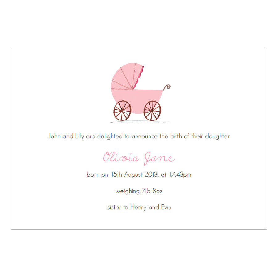 personalised new baby girl announcement cards by made by
