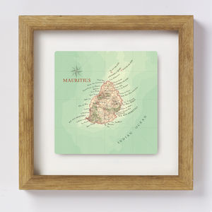 Personalised Mauritius Map Square Print Wedding Gift - personalised