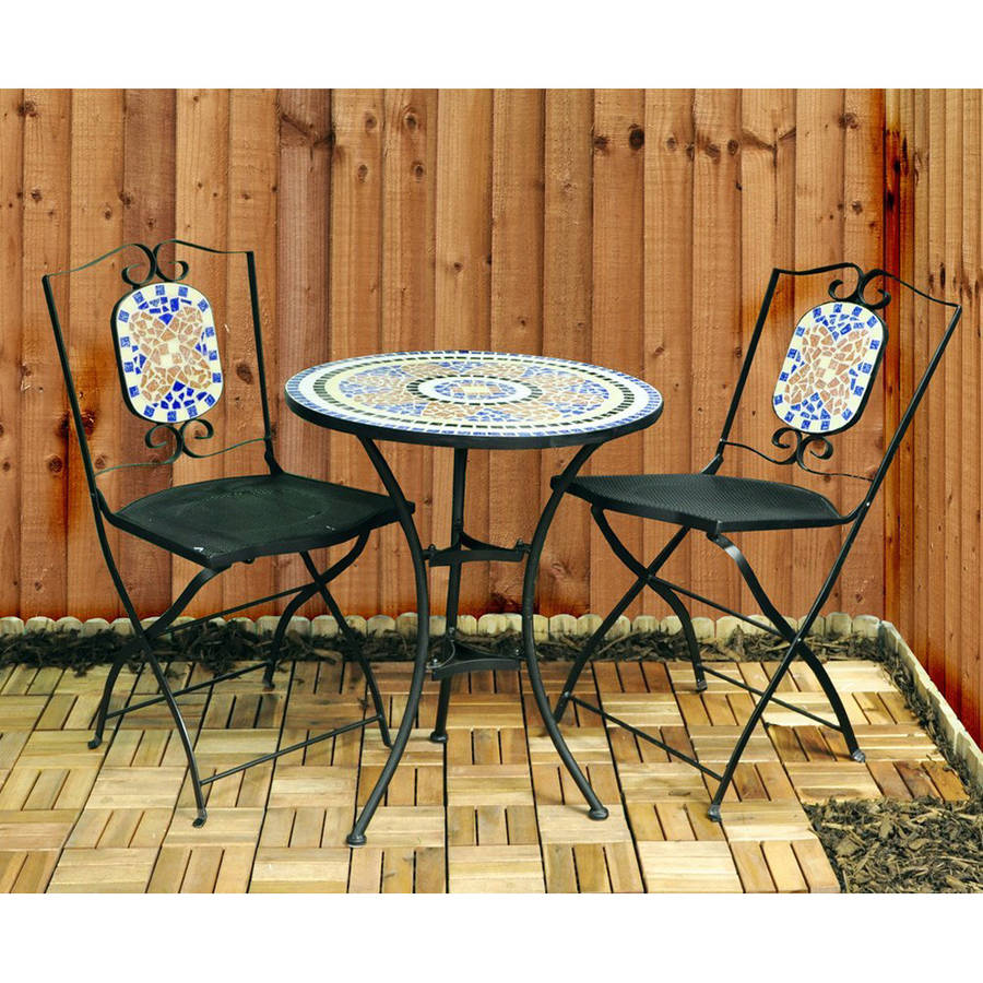 Mosaic bistro table and chairs garden furniture set by garden selections - Garden furniture table and chairs ...
