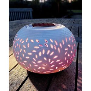Filigree Porcelain Colour Changing Solar Table Light - lights & lanterns