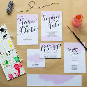 Blush Watercolour Wedding Invitations