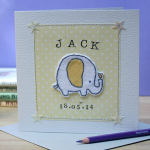 Personalised Embroidered New Baby Elephant Card - new baby cards