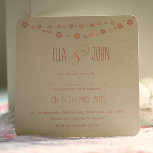 'Flower Bunting' Personalised Wedding Invitations