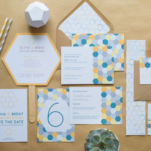 Honeycomb Geometric Wedding Invitations