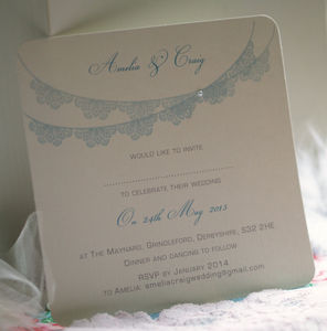'Lace Bunting' Personalised Wedding Invitations