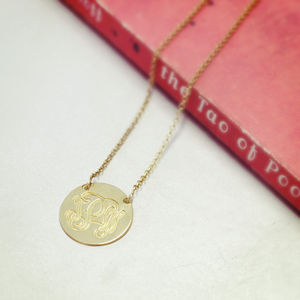 Personalised Monogram Disc Necklace