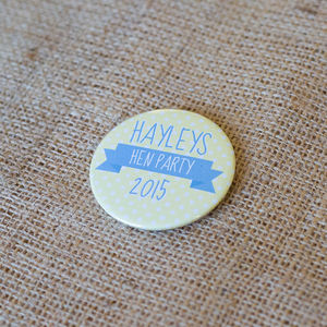 Personalised Banner Hen Party Badge