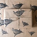 Lino Printed Wren Wrapping Paper