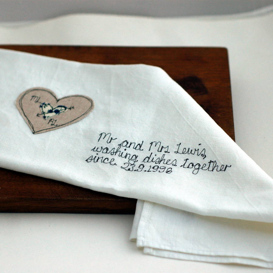 Personalised Mr And Mrs Tea Towel By Handmade At Poshyarns