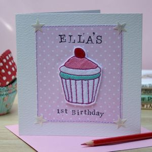 Personalised Embroidered Birthday Cupcake Card - birthday cards