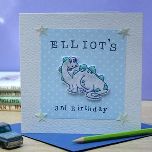 Personalised Embroidered Birthday Dinosaur Card