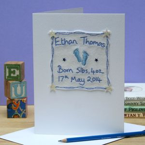 Personalised Embroidered New Baby Card - new baby cards