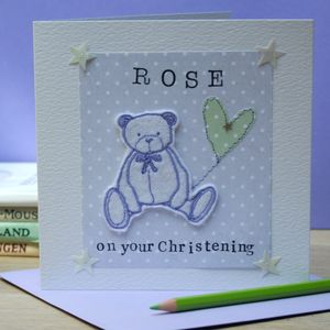 Personalised Embroidered Christening Teddy Bear Card
