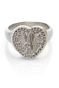 Initial Love Heart Signet Ring