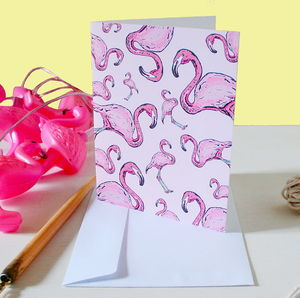 Safari Flamingo Greetings Card - winter sale