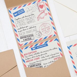 Pocketfold Retro Airmail Wedding Invitation - wedding stationery