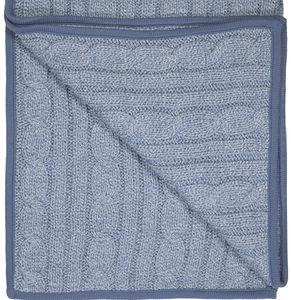 Cable Knit Denim Marl Blanket Ideal Baby Gift