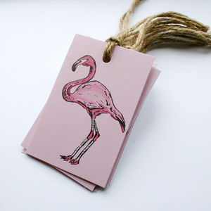 Set Of Eight Flamingo Gift Tags