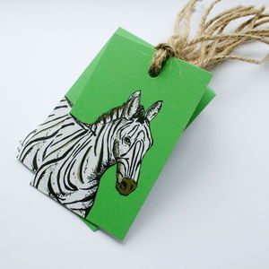 Set Of Eight Zebra Gift Tags