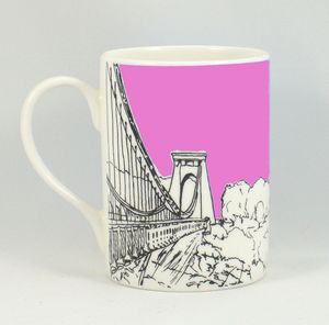 'Sion Hill' Bristol Pink Bone China Mug