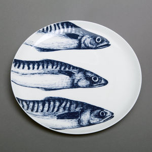 Maritime Bone China Dinner Plate Mackerel Heads - tableware