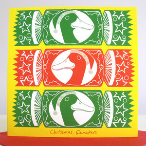 'Christmas Quackers' Pack Of Six Christmas Cards - cards