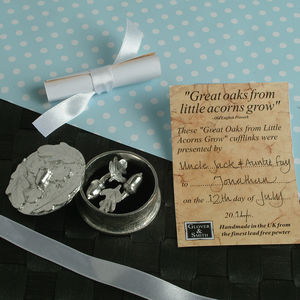 Christening Cufflinks In A Personalised Oak Leaf Box - cufflinks