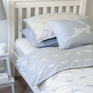 Running Hare Blue Grey Reversible Duvet Cover - children's room