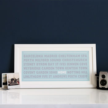 Personalised 'Home' Destination Print- blue