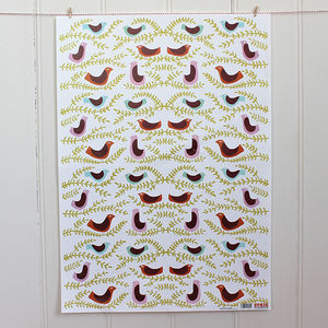 Folk Birds Wrapping Paper