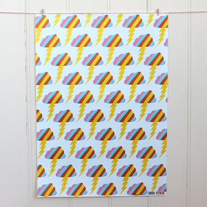 Rainbow Lightning Wrapping Paper