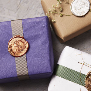 Monogram And Wreath Wax Seal Stamp - wax seals