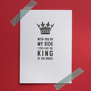 'King Of The World' Greetings Card
