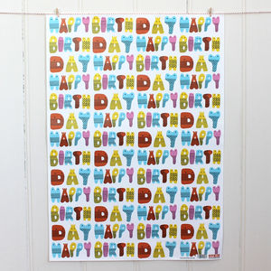 Birthday Creatures Wrapping Paper