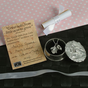 Christening Necklace In A Personalised Acorn Box - christening gifts