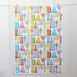 Fancy Birthday Type Wrapping Paper