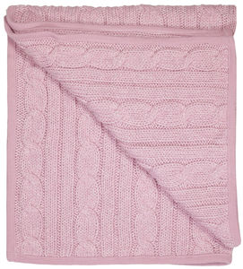 Cable Knit Sparkle Pink Blanket