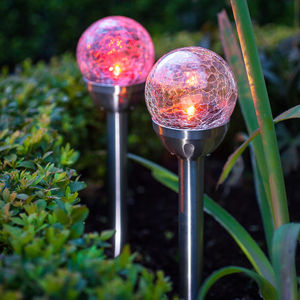 Set Of Two Solar Crackle Glass Stake Lights