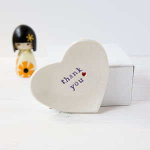 Thank You Gift Ceramic Ring Dish - jewellery storage & trinket boxes