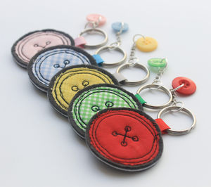 Fabric Button Keyring